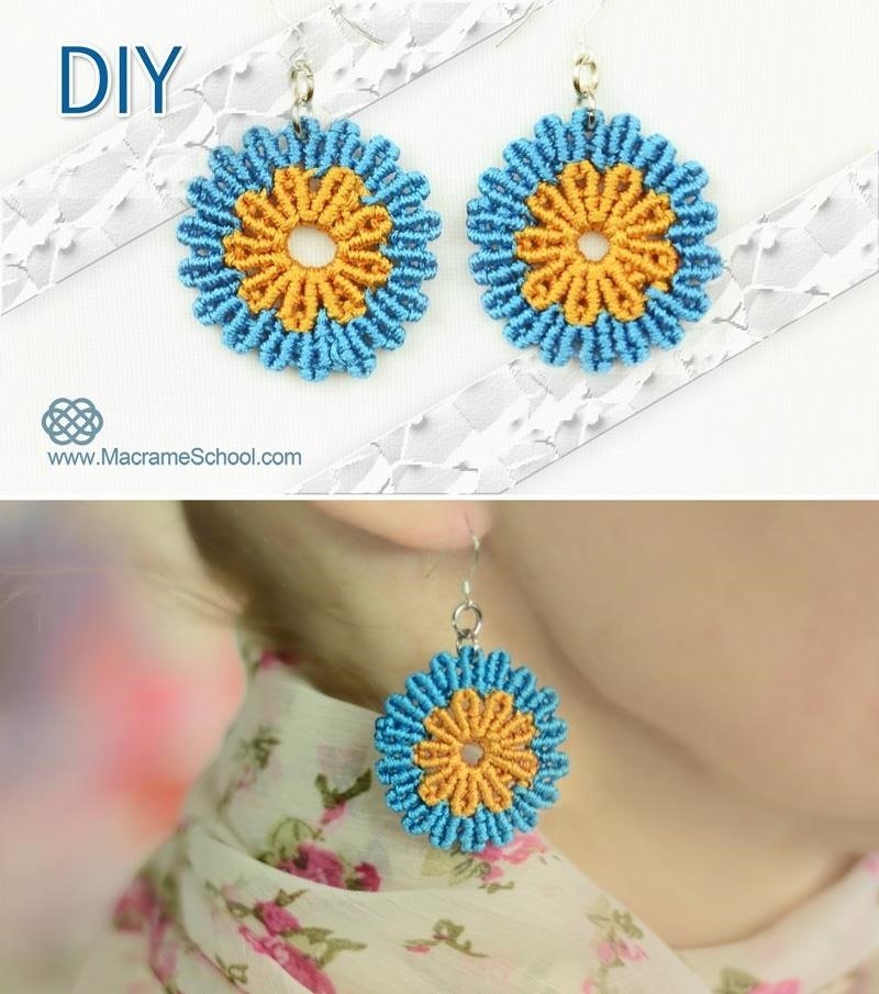 Macrame Flower Earrings Tutorial