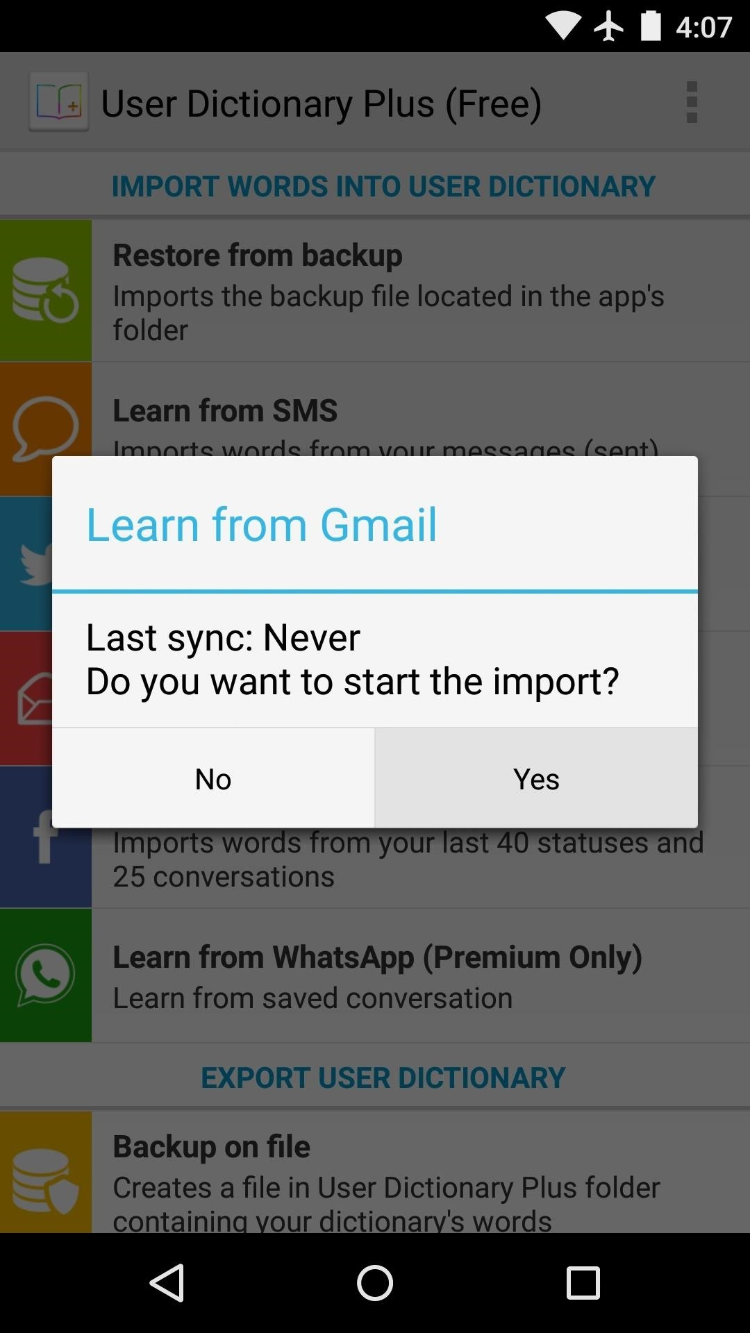 how to add to android dictionary