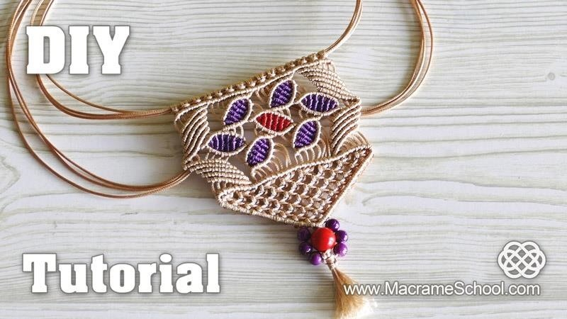 Macrame Necklace with Flower