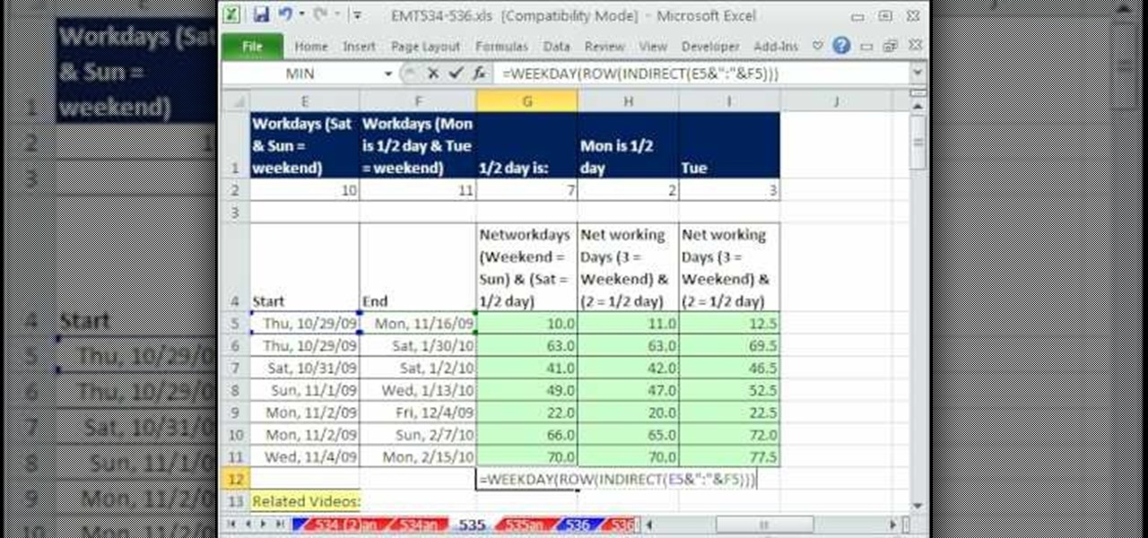 How to Count whole and half workdays in Microsoft Excel