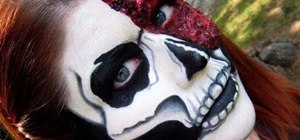 Create a bloody skeleton skull look for Halloween
