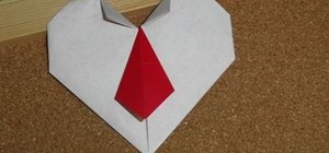 Craft an origami heart with a necktie for Valentine's Day