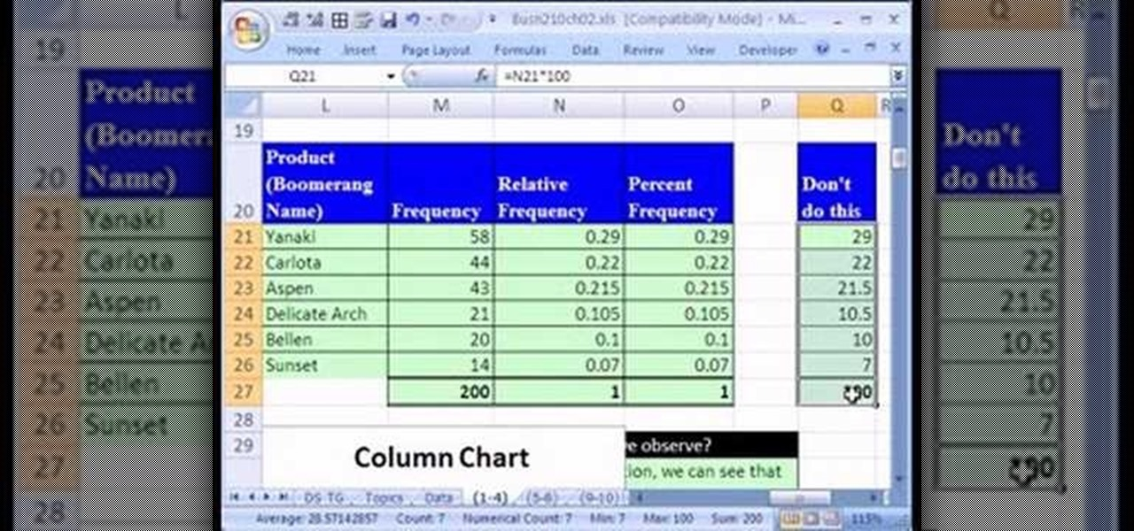 frequency chart in excel
