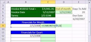 Calculate invoice due dates with EOMONTH in MS Excel