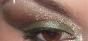 Apply green and copper brown eyeshadow