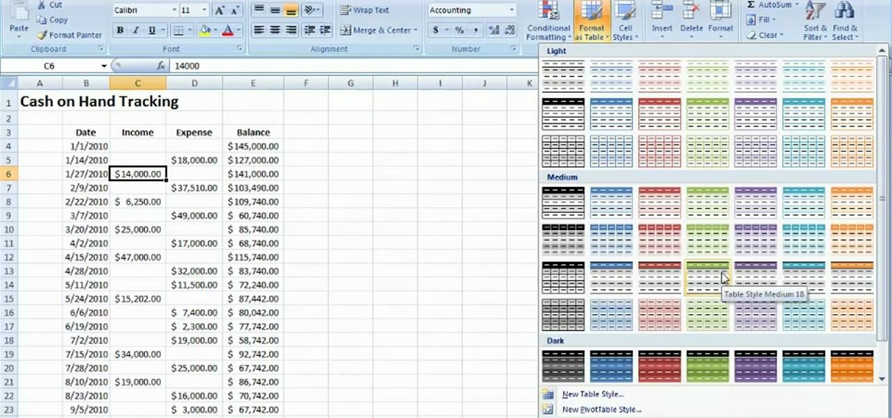 How to Track cash on hand with a table Microsoft Excel 2010 ...