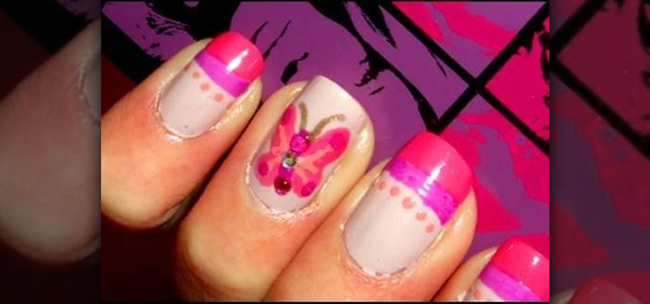 How to Do hot pink butterfly nails « Nails & Manicure