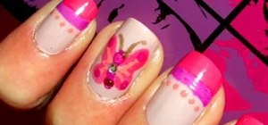 Do hot pink butterfly nails