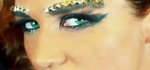 "Create Ke$ha's glittery metallic makeup look from ""We R Who We R"""