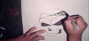 Draw a graffiti skull