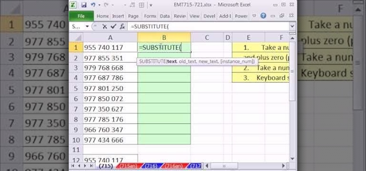 How to Remove spaces from numbers in Excel with the SUBSTITUTE ...