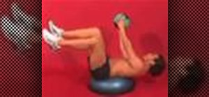 Exercise with the lying trunk rotation on bosu w/ ball