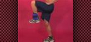 Exercise with standing bent knee leg raise with weight