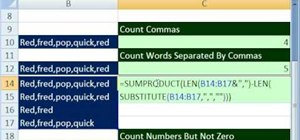 Count words separated by commas in Microsoft Excel