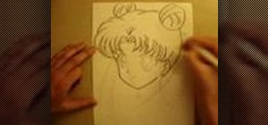 Draw a quarter view of anime manga Sailor Moon's face
