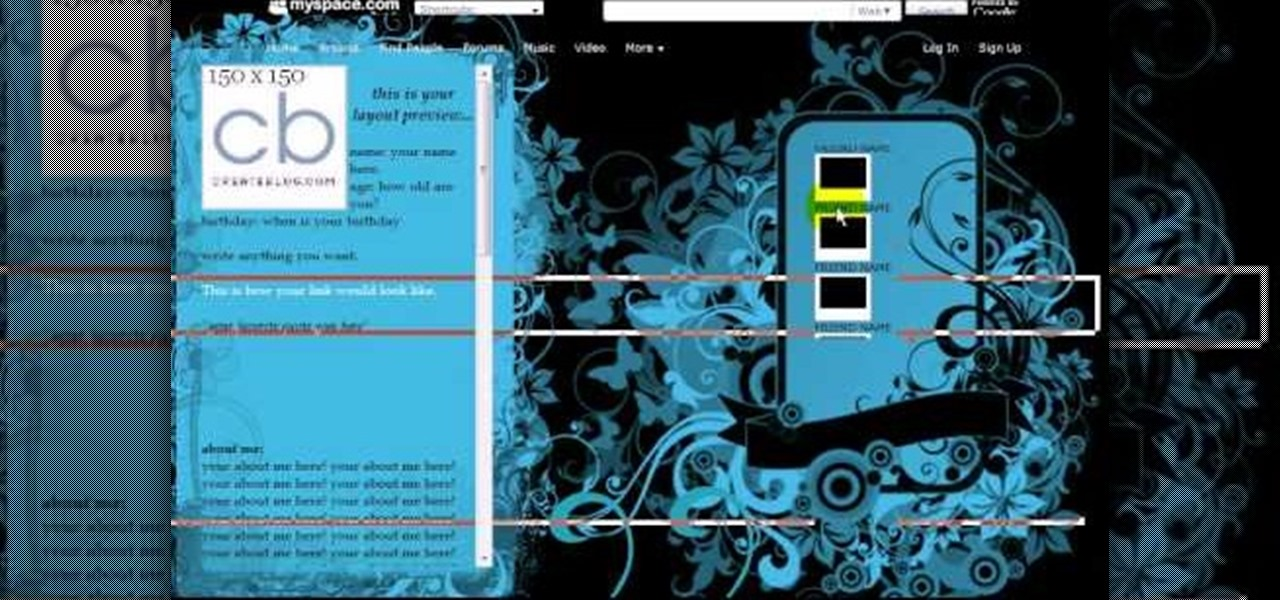 How to Make a MySpace DIV overlay layout � Internet