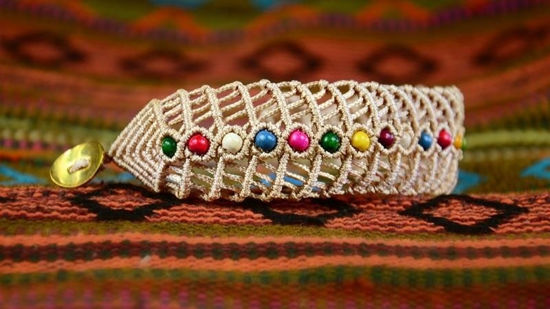 How to Make a Macrame Fishbone Bracelet with Beads