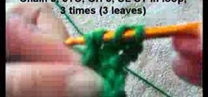 Crochet a small green shamrock with a stem