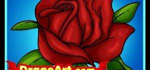 Draw a cartoon rose step-by-step
