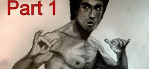 Draw martial artist Bruce Lee (face, body and shading)
