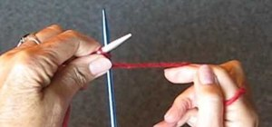 Cast on a knitting needle for beginning knitters