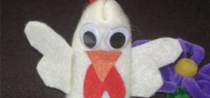 Make a rooster finger puppet