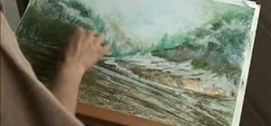 Draw a landscape with dry pastels