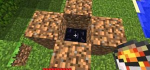 Build a Nether Gate mold out of lava, water and dirt in Minecraft