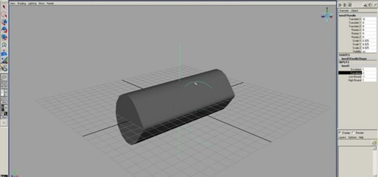 How to Use the bend deformer tool in Maya 7 or later « Maya