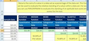 Use the MEAN, PERCENTILE & RANK functions in MS Excel