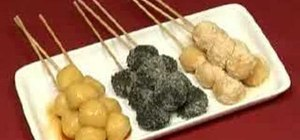 Make skewered tofu dango (Japanese sweet dumplings)