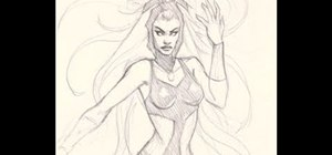 Draw a pencil sketch of Storm from the X-Men comic books