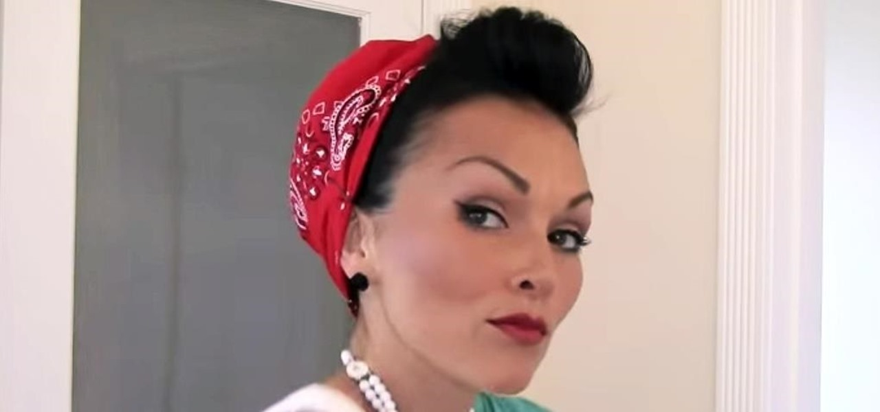 How to Style & Put Your Hair in a Bandana Retro Pin-Up Style ...