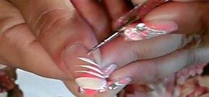 Paint a neon orange & silver nail art design