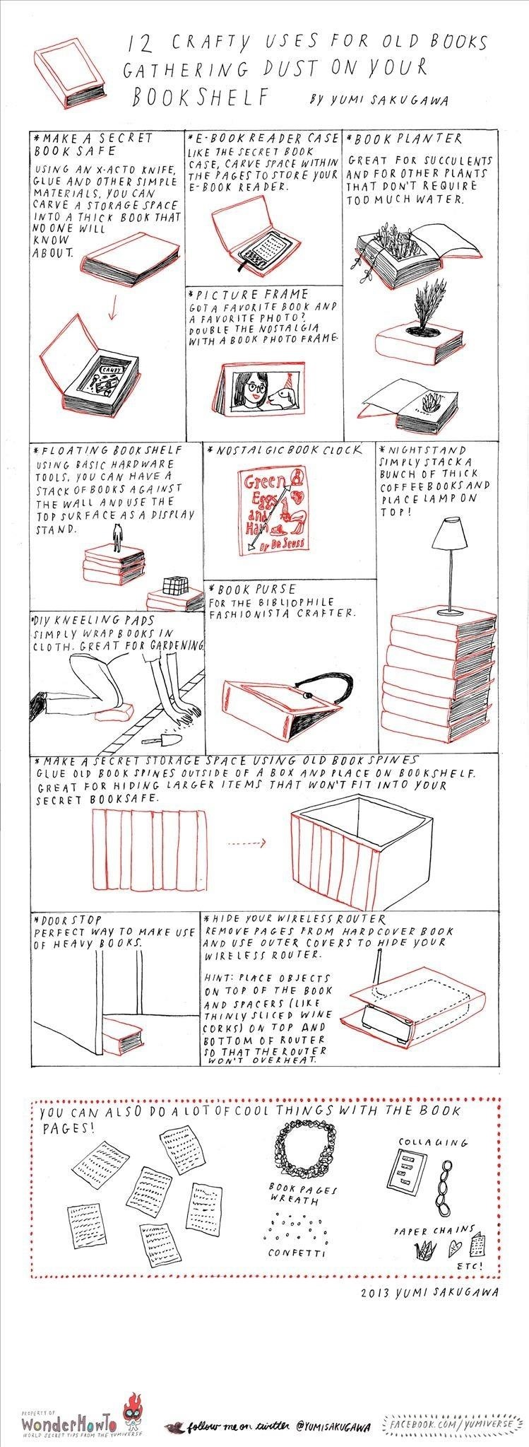 12 Crafty Uses for Those Old Books Gathering Dust on Your Bookshelf