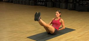 Do a sitting toe touch for your abs