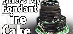 Make a  tire cake using Fondx fondant or gumpaste