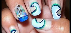 Create a nautical inspired nail look with ocean waves and fish