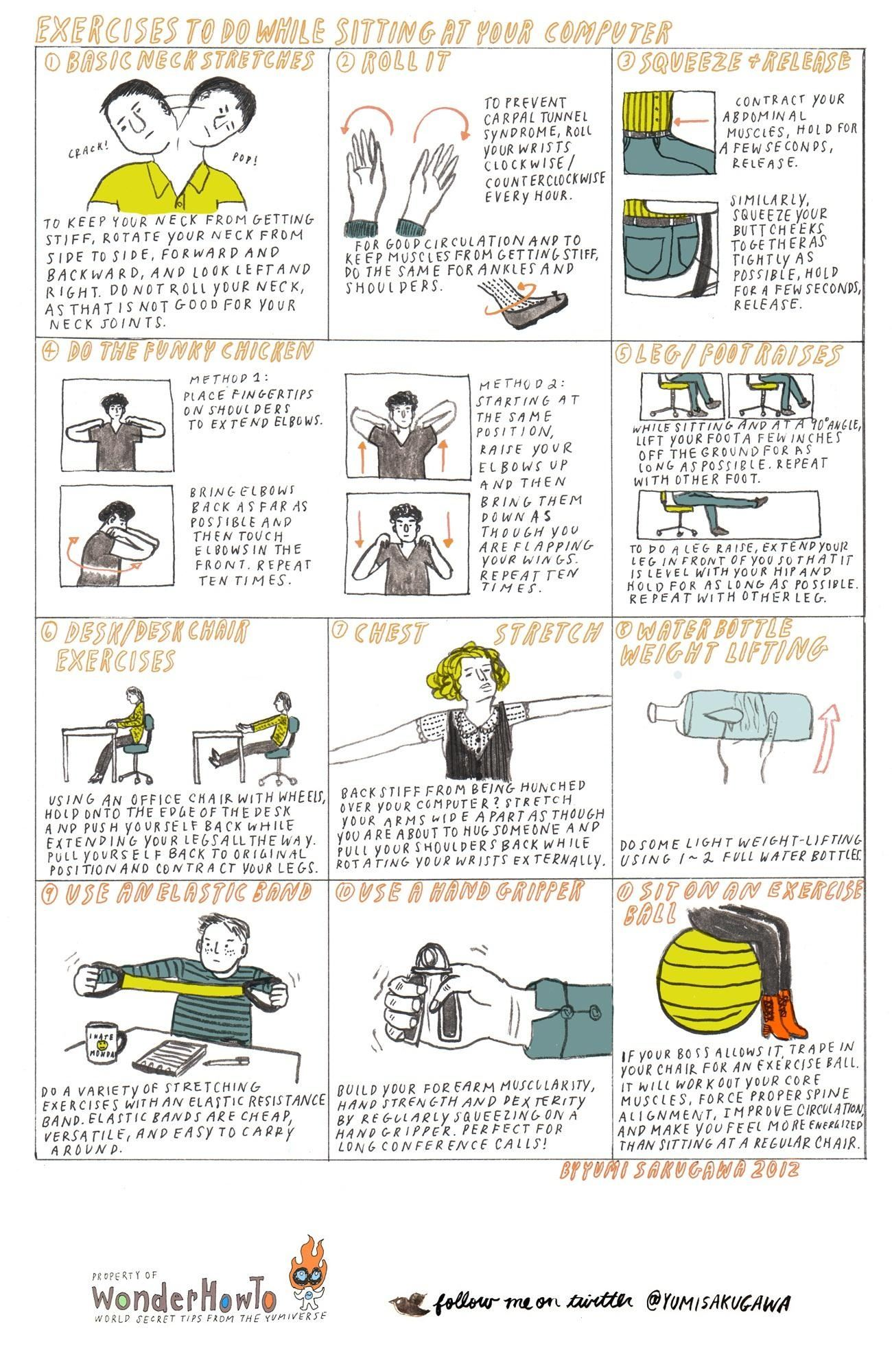 11 exercises to do while sitting at your computer « the secret