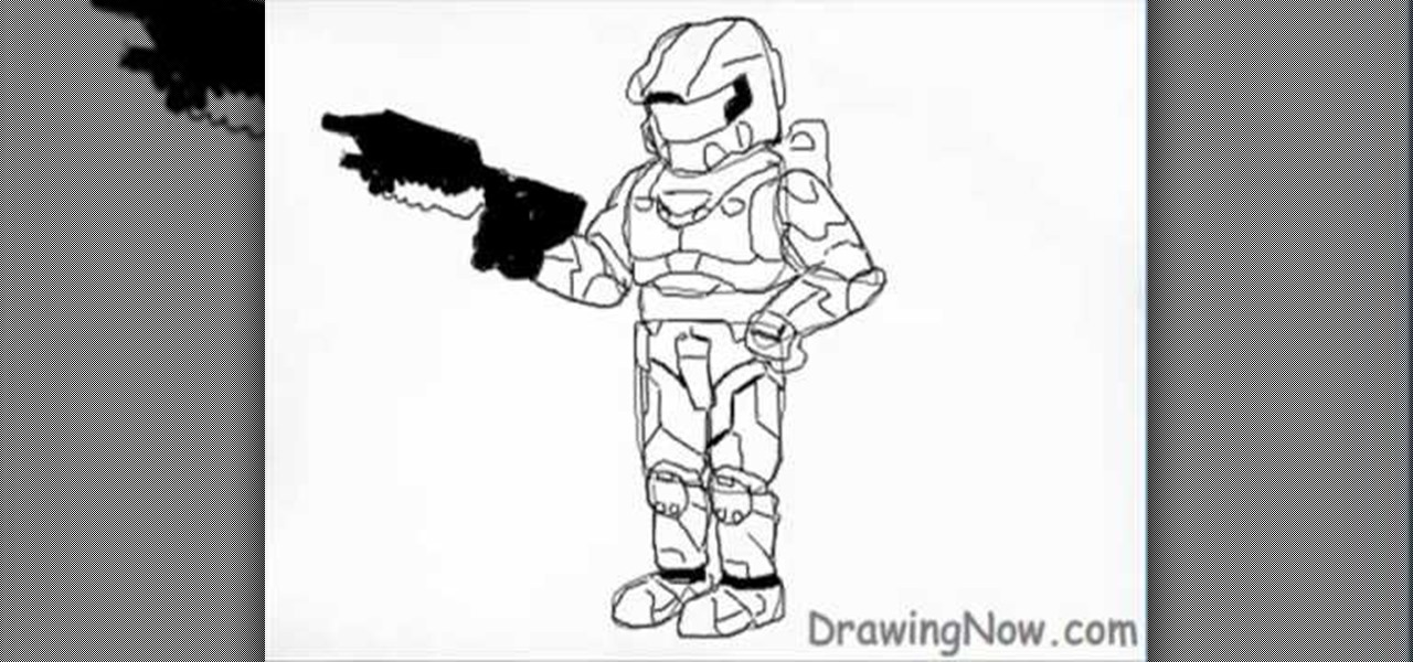 How To Draw Master Chief From The Video Game Halo Drawing