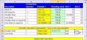 Use comparative operators in logical formulas in Excel