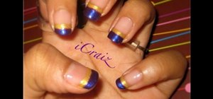 Paint a purple & gold French tip manicure