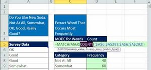 Extract the word that occurs most frequently in Excel