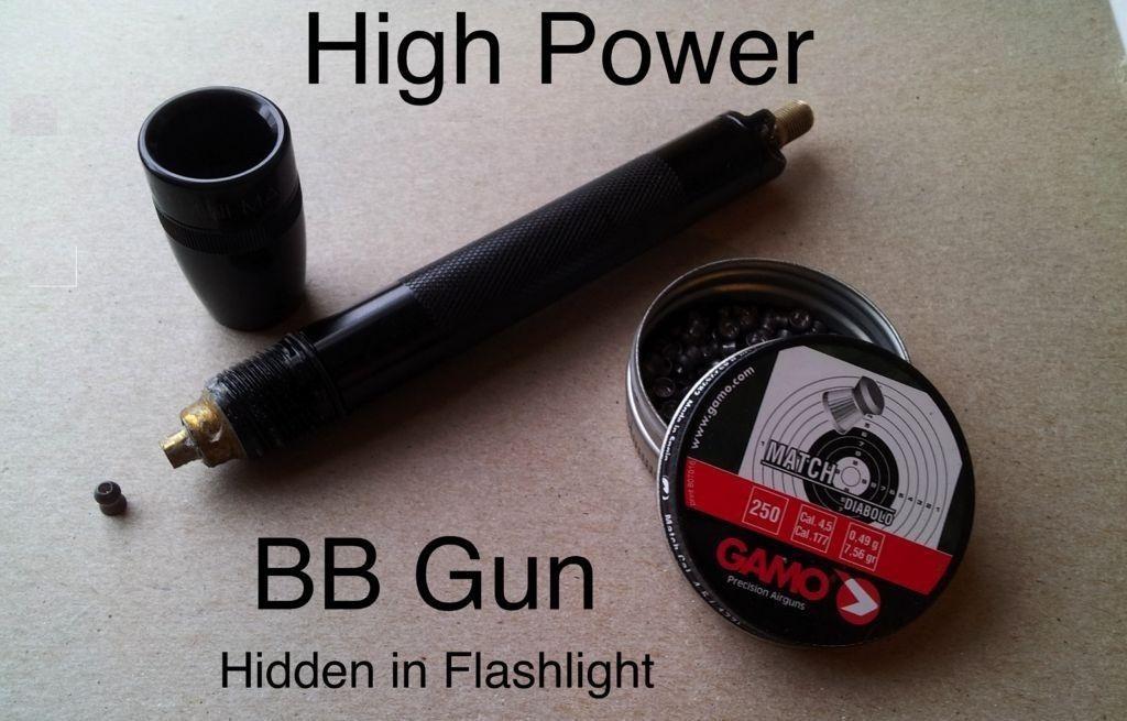 Hide Air Powered Bb Gun Inside Mini Flashlight W on Piston Valve Air Cannon