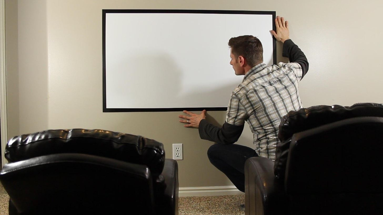 "How to Make a DIY Home Theater Projector and 50"" Screen for Only $5 (Great for March Madness!)"
