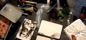 Make a leaf imprint tile plaster mold
