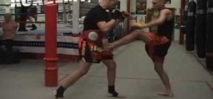Do a Muay Thai kickboxing front kick foot jab