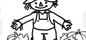 Draw a cartoon scarecrow
