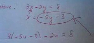 Solve the equation of a line with substitution