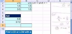 Add and subtract simple fractions in Microsoft Excel